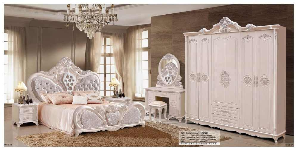 modern european solid wood bed Fashion Carved  leather  french bedroom set furniture king size HC00107