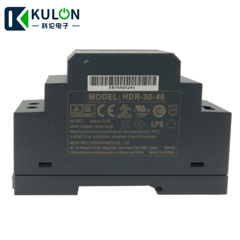 Original MEAN WELL HDR 30 48 36W 0.75A 48V DIN Rail Power Supply meanwell step shape slim power source 48V DC adjustable