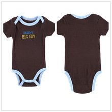 Autumn 1 Piece Cotton Style Baby Girl Boy Clothes Short Sleeve Daddy's Big Guy New Born Body Baby Ropa Brown Baby Bodysuit r035