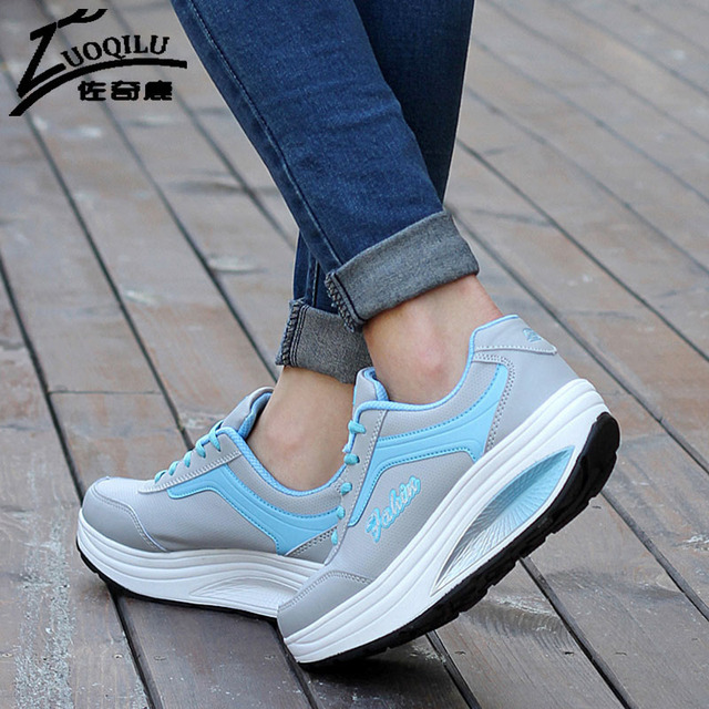 2017 Women Shoes Spring PU Leather Creepers Platform Shoes Woman Slimming Swing Shoes Women Casual Chaussure Femme Zapatos Mujer