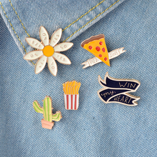 5pcs/set PIZZA win my heart YES NO Flower Cactus French Fries Cartoon Brooch Pins Button Pin Denim Jacket Pin Badge Gift Jewelry