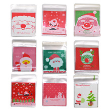 50pcs 10x10cm Christmas Candy Bag Plastic Candy Cookies Pouch Gift Bag Self Adhesive OPP Bags for Xmas New Year Party Decor white dots cookies package birthday party decor bread baking supplies matte self adhesive bags candy bag