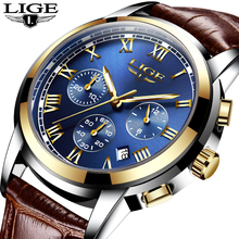2018 LIGE Men sports Watches Male Fashion Business quartz-watch Men Leather Waterproof Clock Man Auto Date Relogio Masculino цена и фото