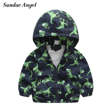 hot deal buy sundae angel boys windbreaker jackets hooded print dinosaur pattern kids baby girls long sleeeve animal outerwear cots clothes