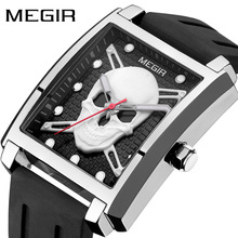 Mens Fashion Skeleton Waterproof Luminous Quartz Watches with Silicone Strap Military Stars Wristwatch for Man BLACK