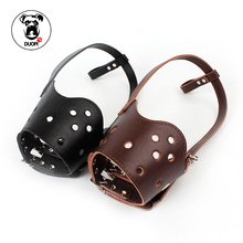 Duopi Pet Dog Muzzle Leather Breathable Adjustable Leather Snout Anti Bite Chew Bark Size 5 Good Quality Models for Pet Product