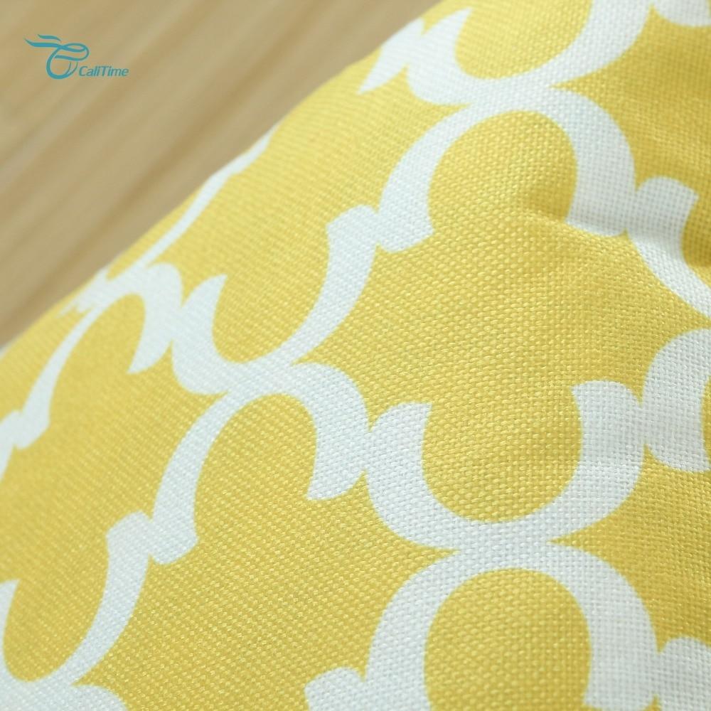 2PCS Square CaliTime Cushion Cover Pillows Shell Quatrefoil Accent Geometric Home Sofa Decor 20 X 20(50cm X 50cm) Yellow