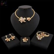 Yulaili Luxus Blumen Boom Frauen Engagement Zirkonia Halsreif Halskette Ohrringe Dubai Gold Schmuck Sets Schmuck Sucht