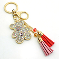 JINGLANG Brand Fashion Gold Plated Lobster Clasp Key Rings Dangle Rhinestone Beer Charms Women Keychain Handbag Luxury Jewelry
