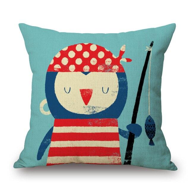 Cartoon Style Sailor Print Cushion Cover 2