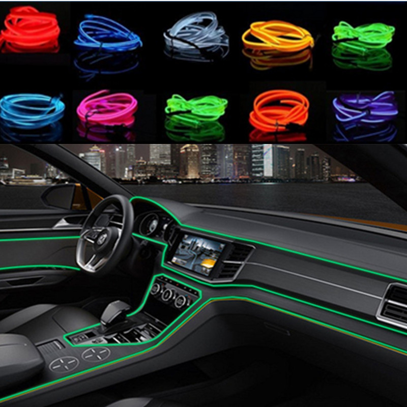 Car Interior LED EL Wire Rope Tube Line strip For <font><b>honda</b></font> civic crv <font><b>accord</b></font> <font><b>accord</b></font> fit jazz peugeot 307 207 308 408 3008 508 2008 image