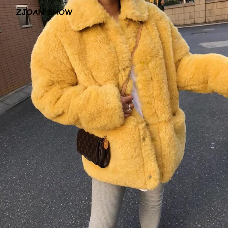 Vintage Turn Down Collar Shaggy Faux lambswool Fur Coat Women 2018 New Winter Korea Clothing Keep
