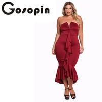 Gosopin Black Plus Size Strapless Fashion Autumn Elegant Party Dresses Women Sexy Sleeves Ruffle Bodycon Dress