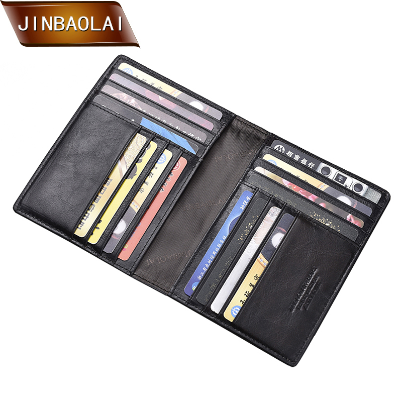JINBAOLAI Passport Travel Wallet Genuine Leather Card