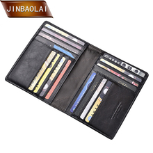 JINBAOLAI Passport Travel Wallet Genuine Leather Card Holder Purses Multi-Function Credit Wallets Multi-Card Storage Pack