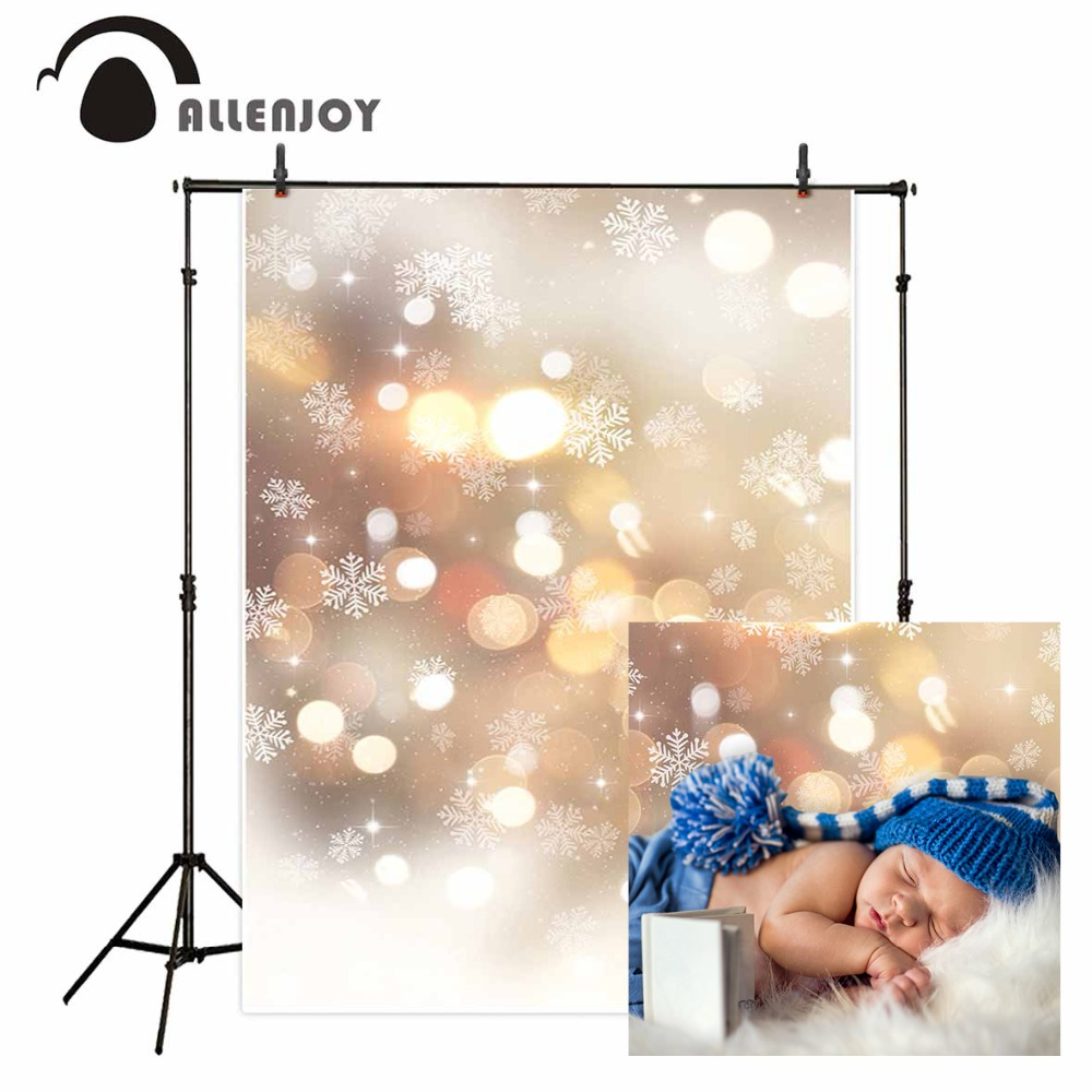 Allenjoy Christmas winter bokeh Golden party photo background void spots glitter snowflakes shiny baby photography backdrops