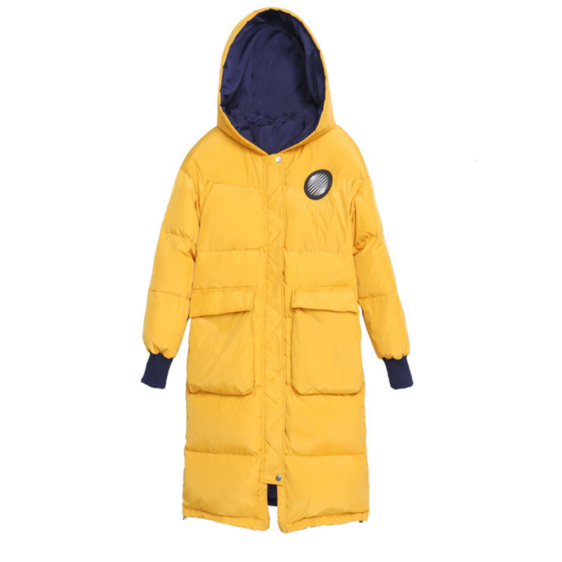 High Quality 2019 Winter New Women Yellow and Dark Blue Reversible Hooded Long and Warm Thick Duck Down Jacket