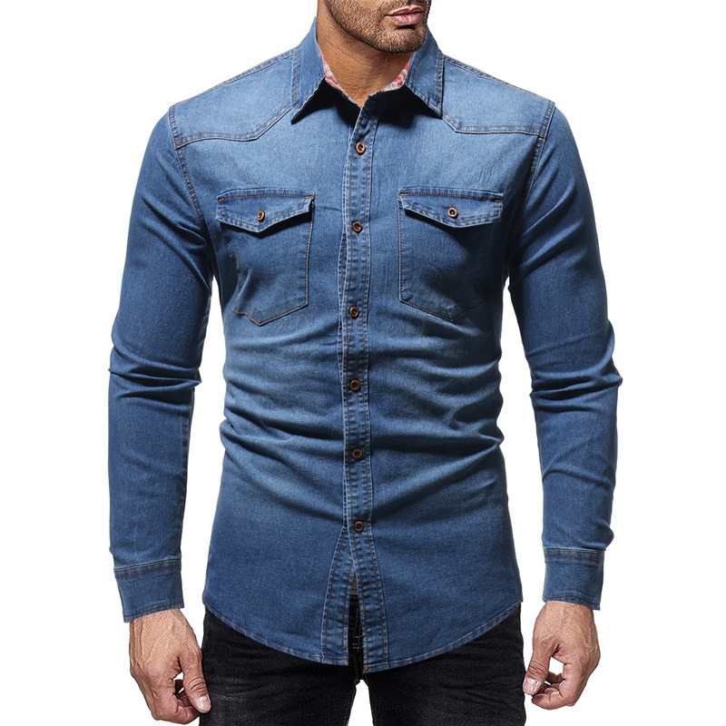 TANG Black Denim Shirt Men Casual Fit Slim Long Sleeve Shirts 2019 Autumn Cotton Jeans Dress Shirt Mens Clothing Plue Size