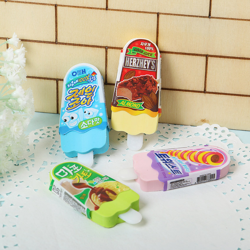 1PC New High Quality Kawaii Eraser Ice Cream Eraser Escolar Rubber For Kids School Supplies