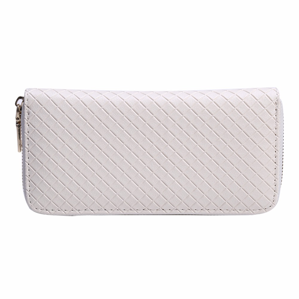 Fashion Women Leather Long Wallet Ladies Card Holder Case Female Solid Color Coin Purse Simple Zipper White Clutch Bag yuanyu new hot free shipping card bag real thailand crocodile leather long wallet female fashion women day clutche purse