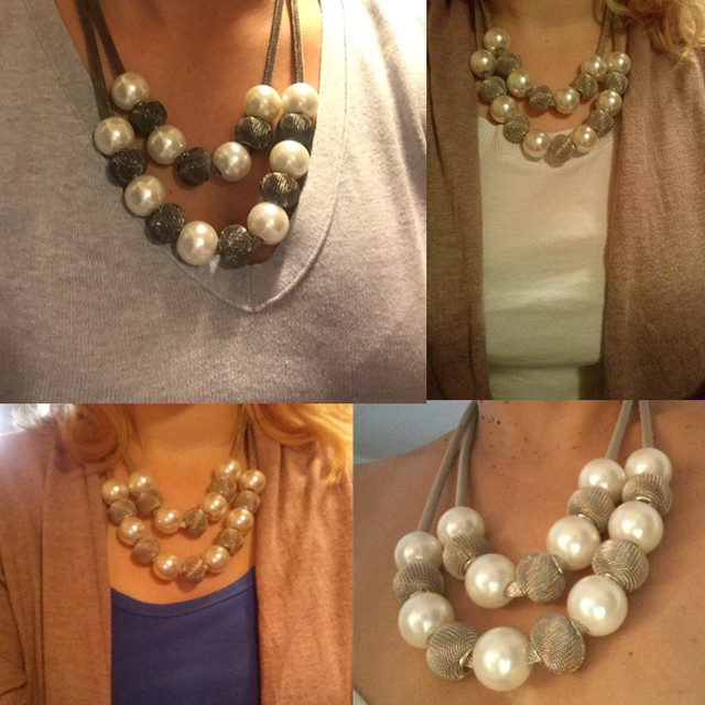 Fashion Imitation Pearl Statement Necklace