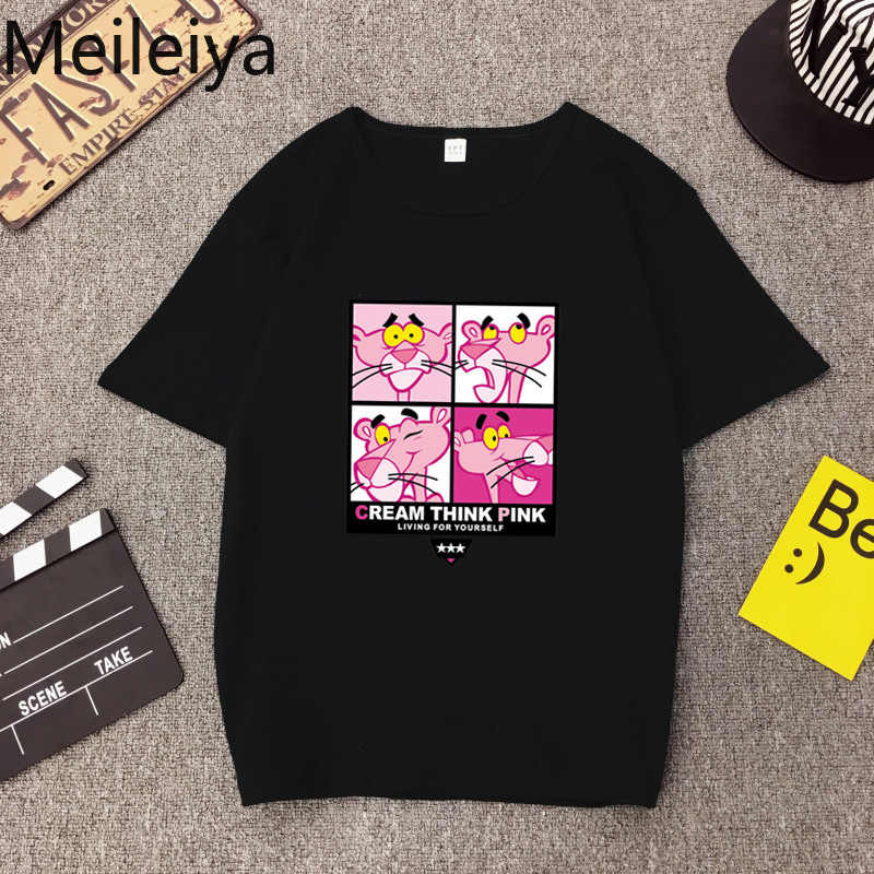 7a2b6765ab78 Detail Feedback Questions about Harajuku Ulzzang 2019 T shirt Summer  Cartoon Cute Pink Panther Loose Tide Brand Short sleeved T shirt woman on  ...