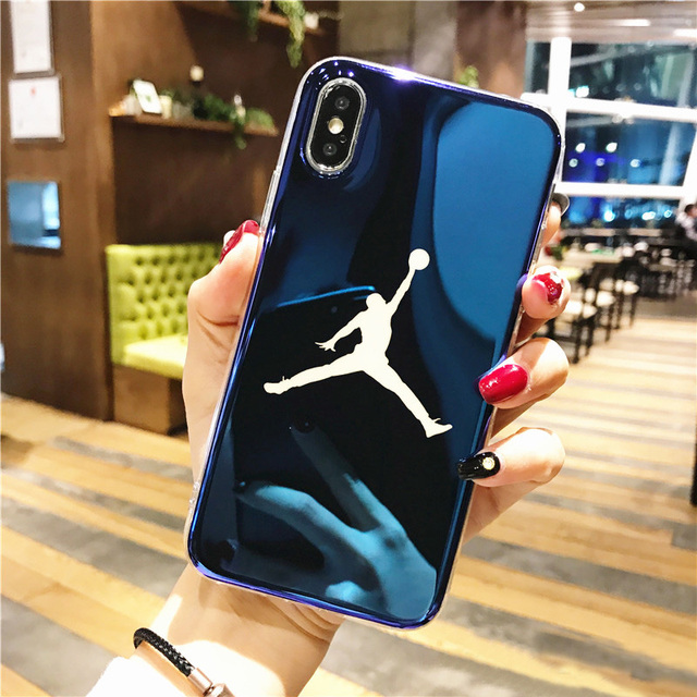 huge selection of a8fc4 72abf US $1.82 35% OFF|Blue Light Ray Michael Jordan Air 23 Basketball Case for  iPhone X 10 8 7 Plus 6s Silicone Case 360 IMD Laser Blu Ray Cover coque-in  ...
