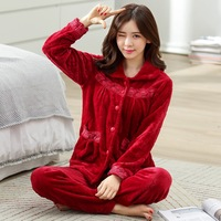 Women Winter Warm Flannel Pajamas Female Coral Fleece Pajama Sets Sleepwear Velvet Long sleeve Casual Nightgown D 2054