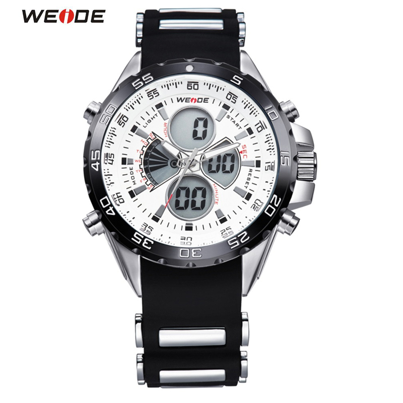 WEIDE Top Brand Sport Watch LED Digital Waterproof Silicone Strap Men Quartz Clock Military Man Wristwatch Relogio Masculino Box brand weide fashion casual men watch black silicone strap 3atm waterproof dual display wristwatch relogio masculino sale items