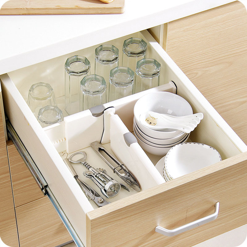 Expandable Kitchen Drawer Organizer with Spring Loaded Dividers for Kitchen Utensils and Cutlery