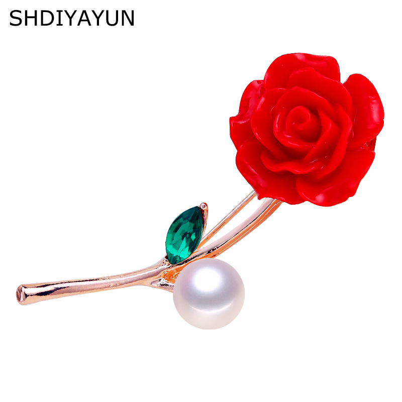 SHDIYAYUN New High Guality Pearl Brooch Rose Flower For Women Vermilion Red Pins Natural Freshwater Jewelry