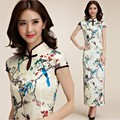 M~3XL Brand Plus Size 2016 Chinese Traditional Women Flower Satin Cheongsam Qipao Long Evening Party Split Female Dress Vestidos