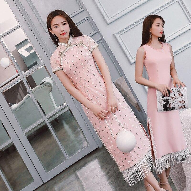 Rose Robe S Style Dentelle Qipao Orientales Femme Longue Kleid Cheongsam Robes Moderne De Chinesisches xxl 1 Chinois 44q6r