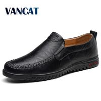 VANCAT Loafers Men Shoes Breathable Comfortable Genuine Leather Flats Spring Summer Fashion Casual Shoes Man Plus Size 38 47