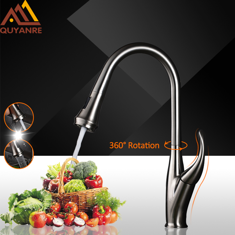 Quyanre Kitchen Sink Faucets Brushed Nickel Pull Out Spout Dual Function Flow Sprayer Single Handle Mixer