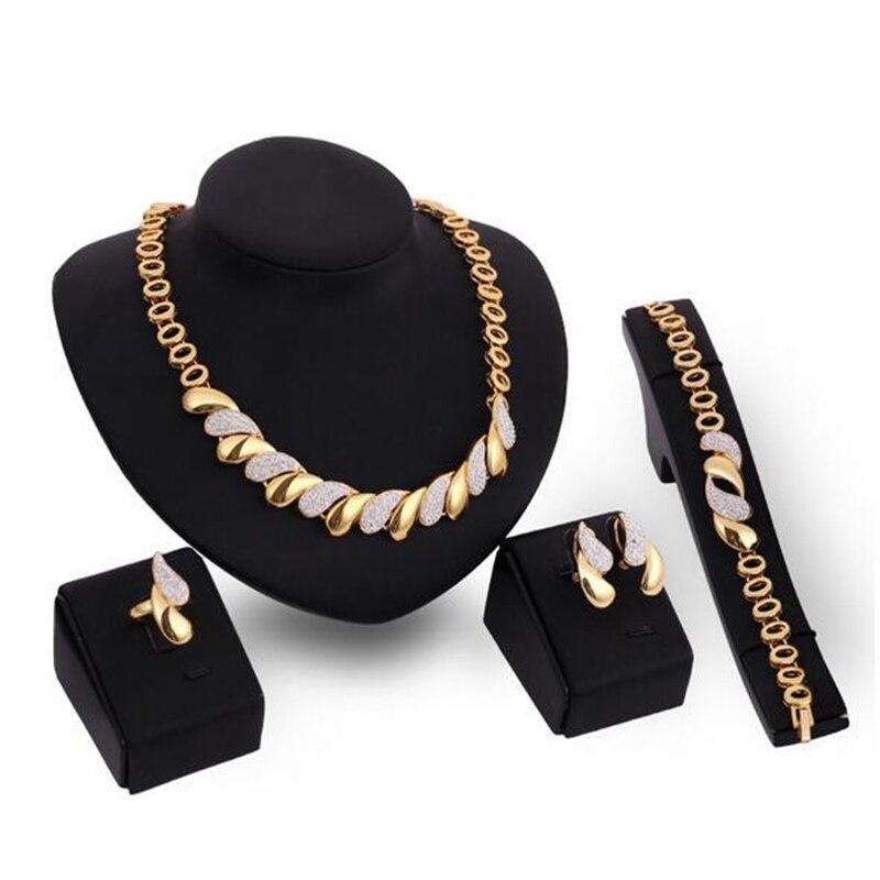 Neue Afrikanischen Schmuck Sets Gold Trendy Halskette Ohrringe Armband Ring Frauen Farbe Gold Schmuck Set Hochzeit Zubehör