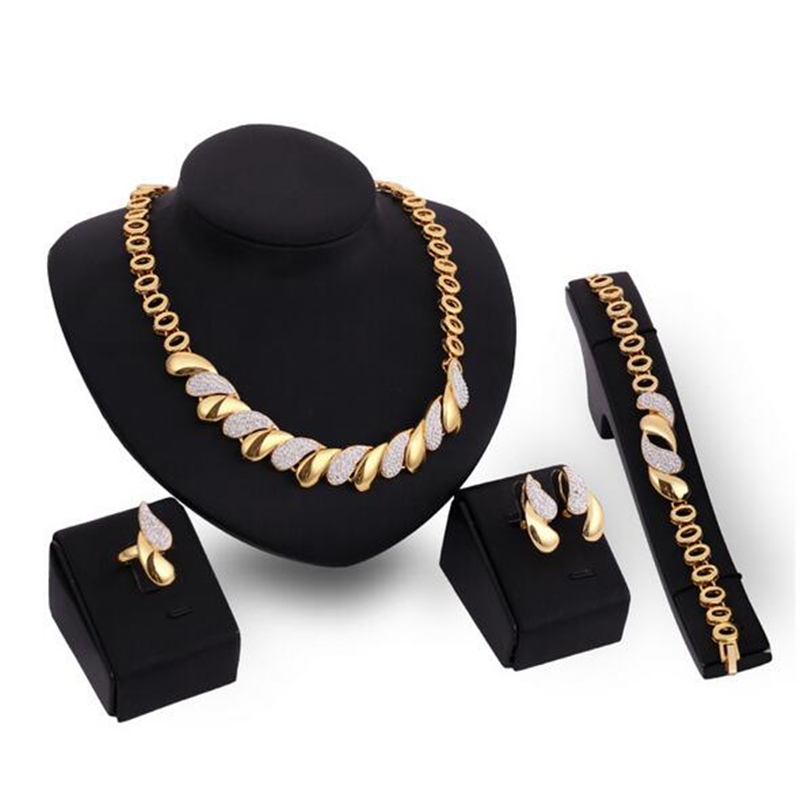 New African Jewelry Sets Gold Trendy Necklace Earrings Bracelet Ring Women Gold Color Jewelry Set Wedding Accessories