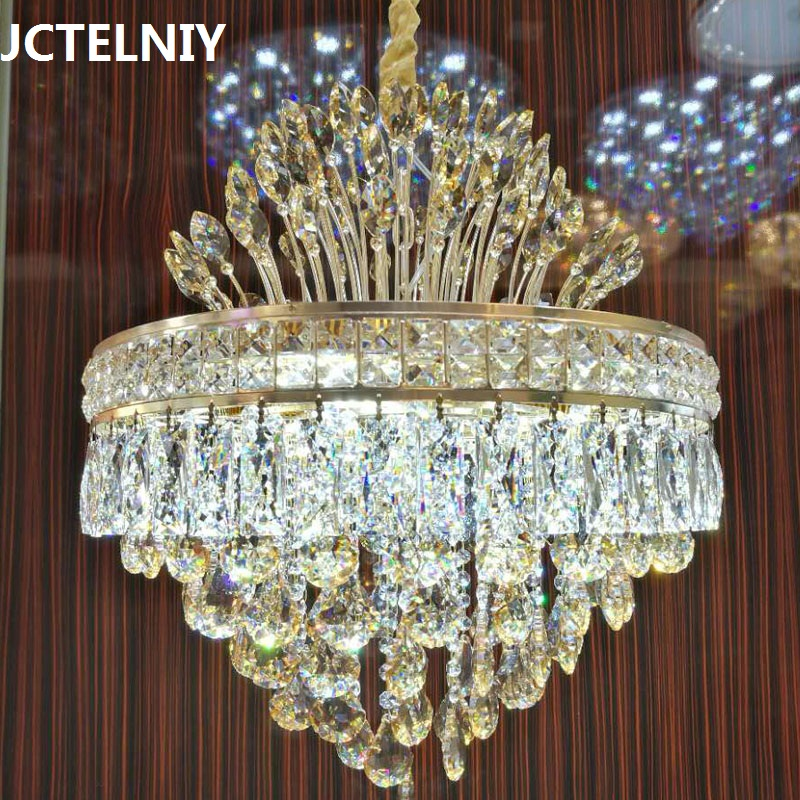 Modern luxury crystal chandelier gold for the restaurant bedroom lights LED bulb gold Dia450mm / Dia550mm 2017 modern luxury crystal pendant light gold for the restaurant bedroom lights led bulb gold