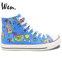 Wen Unisex Hand Painted Canvas Sneakers Design Custom Colorful Tapes Cartoon High Top Sneakers Lace Up Flats for Gifts