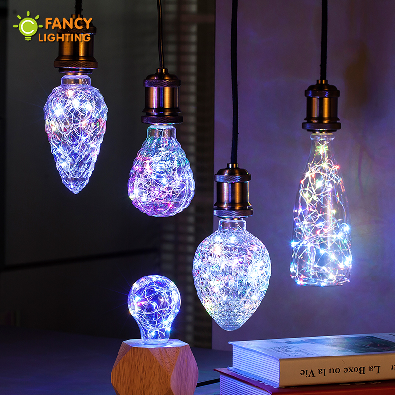 Led bulb A60/Strawberry E27 RGB Decorative string light bulb for home/livingroom/bedroom/celebration decor 85-265V bombillas led