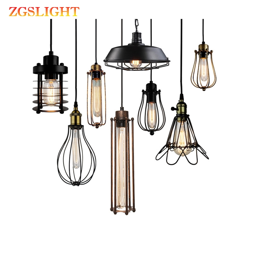 Vintage Loft LED Pendant Lights Black Metal Hanging Lamps Retro Cafe Luminaires Industrial Decor Lighting Fixtures