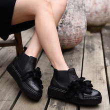 Artmu Women's Chelsea Boots Handmad Flowers Shoes Handmade Genuine Leather Short Boots Flat Platform Sole Boots Autumn Winter