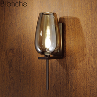 Modern Glass Led Wall Lamp Mirror Light Loft Industrial Decor Copper Sconce for Bathroom Bedroom Kitchen Home Lighting Fixtures
