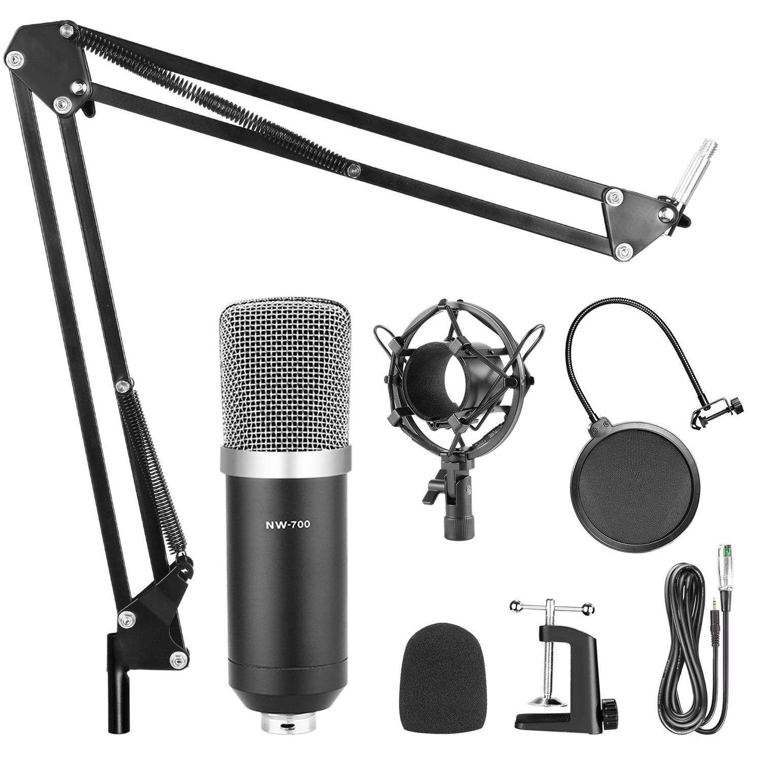 Specialized Studio Broadcasting Recording Condenser Microphone Kit With Stand And Shock Mount For Radio Braodcasting Recording