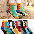 Fashion Colorful trend popular women socks Sawtooth grid Candy color designer Socks cotton colorful meias soks