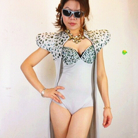 2016 fashion new women rhinestone bodysuit female singer DJ stage show Shoulder pads long cloak strap clothing set ds costumes