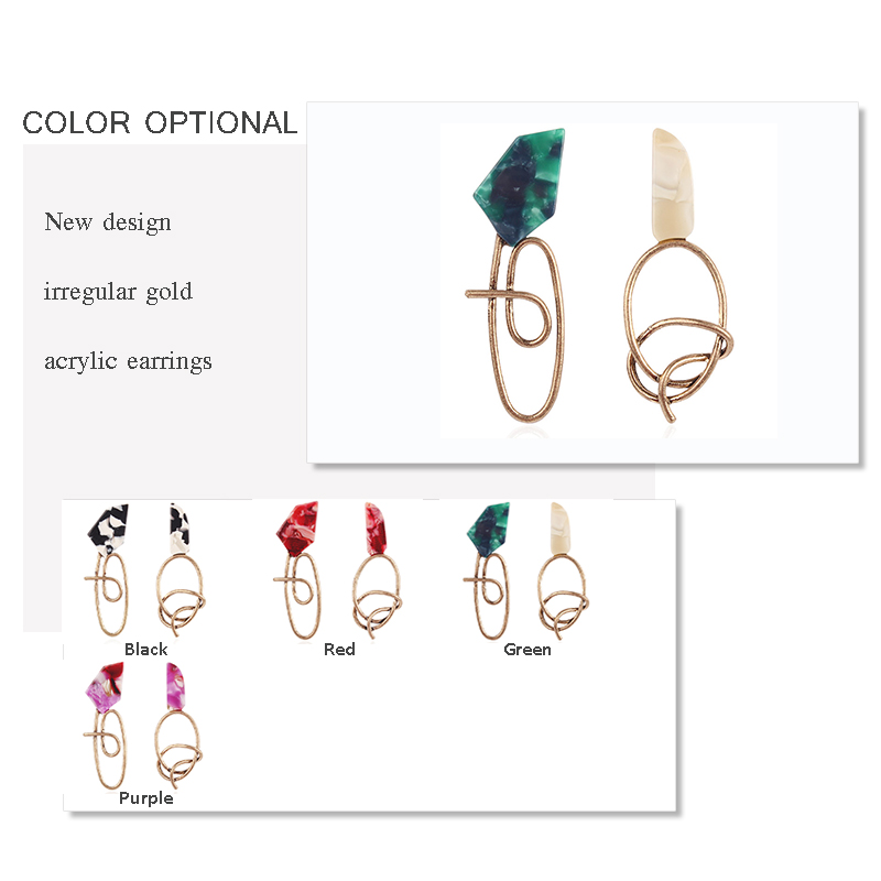 Green Acrylic Earrings for Wmen Irregular Alloy Resin Earring Vintage Acetate Earing Fashion Jewelry 2019 Pendientes Resina in Drop Earrings from Jewelry Accessories