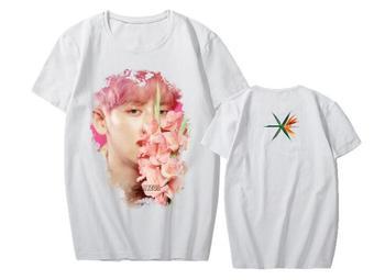 Estilo de verano kpop exo imagen de miembro de impresión Camiseta con cuello redondo para exo L de apoyo de manga corta Camiseta unisex k-pop top tee
