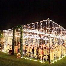 10 м x 3 м 1000 светодиодный гирлянда для занавесок, Рождественская гирлянда, светодиодный светильник, украшения, свадебные сказочные огни, праздничная вечеринка, декор для сада