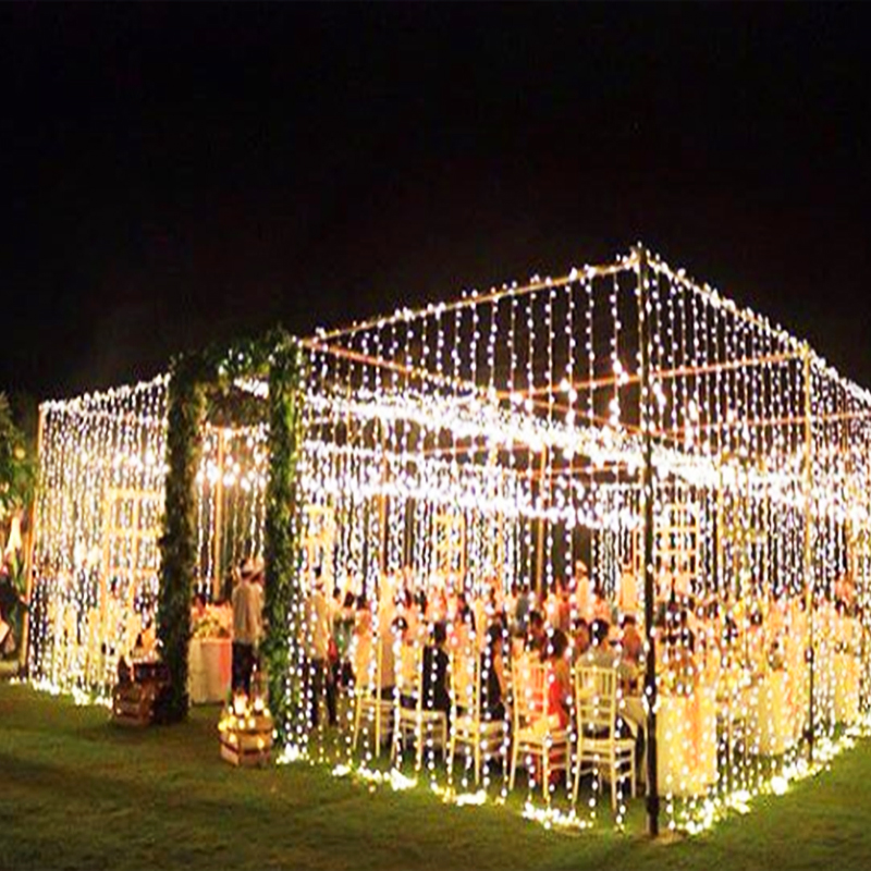 JULELYS 10M x 3M 1000 Bulbs Christmas LED Curtain String Lights Decorations For Wedding Garland Light Holiday Party Garden Decor